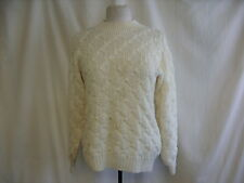 """Ladies Jumper cream acrylic hand cable knit crew neck chest 40"""" length 24""""1808"""