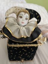 San Francisco Music Box Co Porcelain Jester Harlequin Doll with Tag Musical 1992
