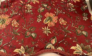 Waverly Felicite Red Jacobean Floral ValanceScalloped Gold Trim Edge 47 x 18