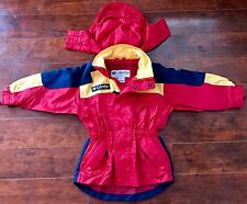 BOYS Lightweight Columbia Jacket 4/5 Blue Red Yellow Hooded Coat