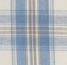 Blue, Cream, Tan Cotton Fabric. 2½ Yards. Madras Plaid. Woven Tartan