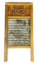 "Dubl Handi Washboard Primitive 18"" Traveling Size Metal Wood Vintage Laundry"