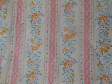 Antique Vintage Cottage Roses Floral Ticking Fabric ~pink yellow blue