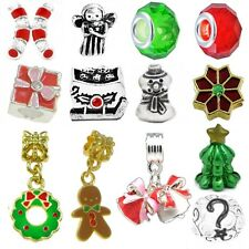 Beads and Charms for European Charm Bracelets Christmas Holiday Party Red Green