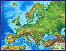 3D - Landkarte Europa mit Städten 60 x 47 cm Karte Geographie Neu