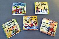 Set Of 5 Ceramic Refrigerator Tile Magnets Woman's Life Theme
