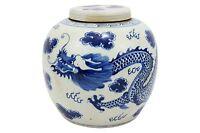 """Vintage Style Blue and White Porcelain Lidded Ginger Jar Dragon Motif 12"""""""