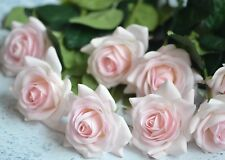 10 Stems Pale Pink Roses Real Touch Flowers For Boho Wedding Bridal Bouquets