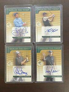 Upper Deck SP 2001 Autographed Golf Lot of 4 Strange, Pavin, Faxon, & Parnevik!