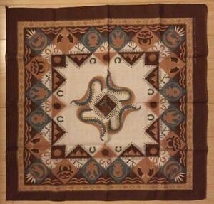 Vintage Wamcraft Bandana USA Cotton Blend Southwestern Geometric Animals Brown