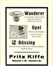 Fahrzeugfabrik Kiffe Münster Omnibus Büssing 1925 Reklame Opel Wanderer LKW