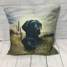 Black Labrador Dog & Puppy Cushion Cover Vintage Country Animal Farmhouse Gift