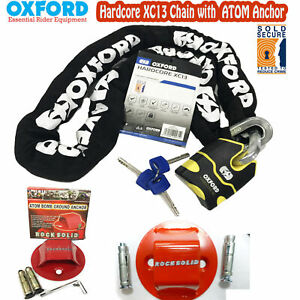 OXFORD SECURITY BUNDLE HARDCORE XC13 MOTORCYCLE CHAIN 1.5M + ATOM GROUND ANCHOR
