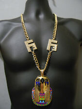 Horus Gold Tone Egyptian Necklace Hip Hop Vector Chain Crystal Franco Iced Out