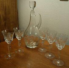 Bohemian Czech Cut Crystal Hand Blown Wine Decanter W/5 Matching Wine Glasses