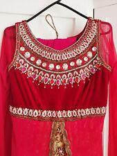 Asian Wedding Walima Party Dress Anarkali Indian Pakistani Maroon Red Cream Gold