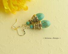 Ohrringe + Türkis  + Oliven blau + Tribal + ethno   ***handmade***