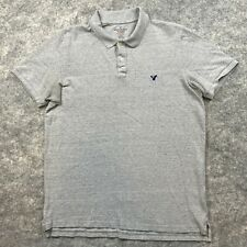American Eagle Polo Shirt Adult Large Gray Casual Rugby Cotton Athletic Mens