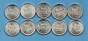 10 SILVER SIXPENCE COINS OF KING GEORGE VI. 1937 - 1946. IN HIGH GRADE. JOB LOT.