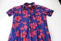 VTG 1950's Ui Maikai Red Blue Floral Hawaiian SHIRT XS Extra Small Length 27