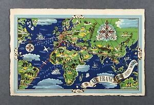 AIR FRANCE AIRLINE ISSUE POST CARD LUCIEN BOUCHER ROUTE MAP