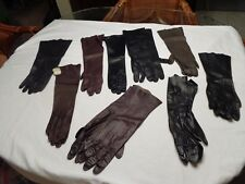 Vintage 9 Pr Black & Brown Leather Gloves Some New/Used Long Italy Paris Size 7