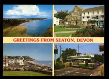 Greetings From Seaton, Devon Tram Used Postcard #C3434