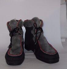 (122)WOMEN'S SNOWLAND WINTER BOOTS BLACK/GRAY  SIZE 10