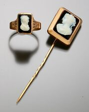 Two Antique Black Onyx & Jet Cameos – Rose Gold Stick Pin and Ring