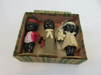 Black Americana Antique Japanese Wedding Set Kewpie Dolls & Original Box c1930s