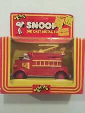 Vintage Peanuts Snoopy & Woodstock Die Cast Toy Aviva Fire Truck New in Box
