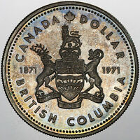1971 CANADA 1 DOLLAR BRITISH COLUMBIA SILVER UNC GEM CHOICE BU COLOR TONED (MR)