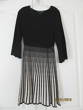 NWOT French Connection Black Beige Stripe 100% cotton Long Sleeve Knit Dress 10