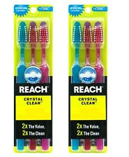 6 Reach Toothbrush Extra Clean FIRM Bristles Hard - FREE SHIPPING USA SELLER