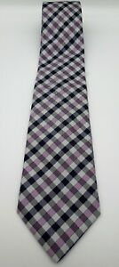 "MARKS & SPENCER Mens Tie Purple/White/Black Check L60"" W3.75"" In E U C"