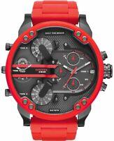 DIESEL Original DZ7370 Red Gunmetal Dial Mr Daddy 2.0 Silicone Strap Men's Watch