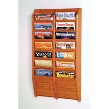 Pemberly Row 14 Pocket Medium Oak Wall Mount Magazine Rack