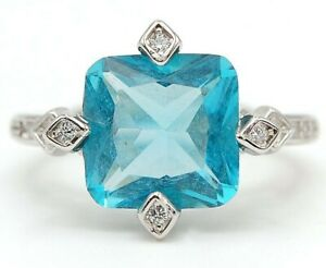 Flawless 2CT Aquamarine & Topaz 925 Solid Sterling Silver Ring Jewelry Sz 7 M10