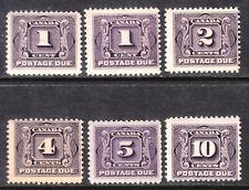 CANADA POSTAGE DUE #J1-J1c-J2-J5 SET/6, 1906-28, F-VF, MOST MNH