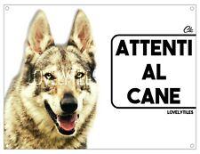 LUPO CECOSLOVACCO CARTELLO TARGA ATTENTI AL CANE PVC DOG