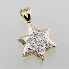 14k Oro Amarillo Estrella de David Colgante con / DIAMANTES Judaica PRECIOSO