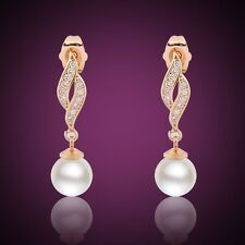 Absorbing 18k gold filled  dangle dashing  HOT white sapphire  pearl  earring