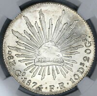 1874-Go NGC MS 62 Mexico 8 Reales Mint State Mint State Silver Coin (19060902C)