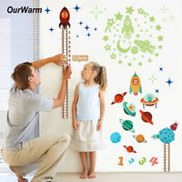 Kids Baby Planets Space Rocket Height Chart Measure Wall Sticker Room Door Decor