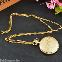 L/P Taschenuhr Quarz Ketteuhr Halskette Pulloverkette Uhren Retro Vergoldet 83cm