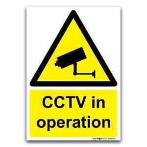CCTV in operation Warning Safety Surveillance Sign Rigid Plastic & Vinyl Sticker
