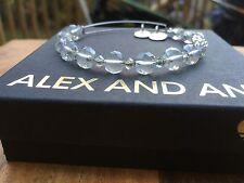 ALEX and ANI ICE FLARE Canvas SWAROVSKI Crystal Silver BEADED Bangle BRACELET ��