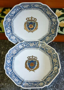 Vintage Pair of Chateau De Versailles Armorial Chinese Export Plates