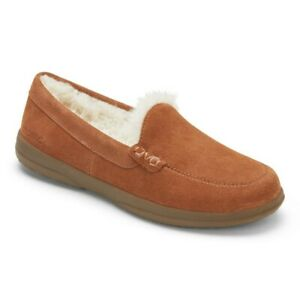 Womens Vionic Lynez Luxury Suede Shearling Slippers Toffee