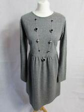MARKS & SPENCER Ladies Grey Marl Long Sleeve Jersey Dress Size 16 VGC